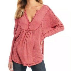 Free People Oversized Leo Henley Thermal Top